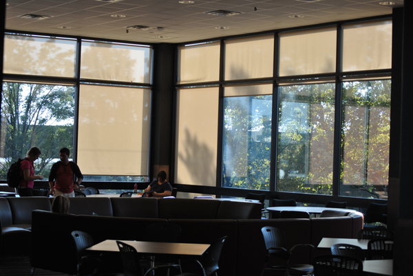 Students study in the newly renovated lounge in DeBartolo Hall. The renovations were part of a $8.2 million project that spanned four buildings across YSU's campus. Photo by Frank George/ The Jambar.