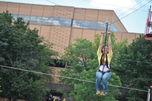 YSU student Jordan Edgell, was one of the 140  students who participated in the welcome week zipline. Photo by Taylor Phillips/ The Jambar.