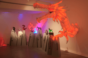 Brian Gigliotti's exhibit (above) features sculptures based off of the Chinese zodiac. Gigliotti employed different sculpting methods to create each animal sculpture in the display. Photo by Liam Bouquet/The Jambar.