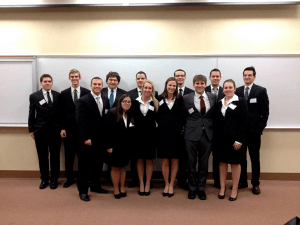 Two teams from YSU's Moot Court (above) won first and second place at the Nov. 22-23 Midwest Regional Tournament, where 12 universities competed at the tournament. Three teams from YSU will now move on to compete in the January national competition. Photo courtesy of Catie Carney.