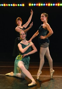 "Left to right: Lee Beitzel, Rebecca VanVoorhis and Olivia Bartie will perform a ballet dance titled ""Jardin de la Fleur"" in the upcoming Dance Ensemble recital. Photo courtesy of Anna Ruscitti."