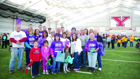 Members of the community gathered  at the Watson and Tressel Training Site on Saturday to show support for Altzheimer's research and stand beside those affected by the disease.Photo by Alexis Rufener/The Jambar.