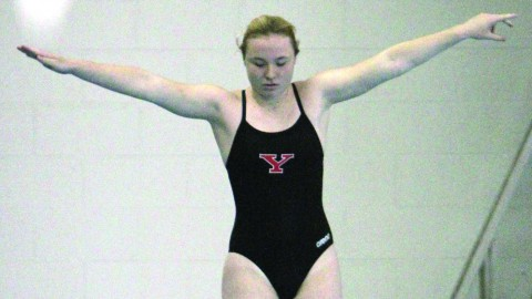 Freshman diver McKenzie Stelter prepares to jump during YSU's meet against Niagara University. Stelter finished first in the one-meter and three-meter dives. Photo courtesy of sports information.