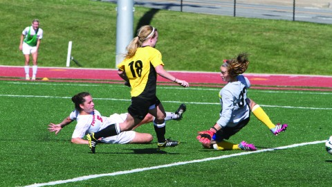 Kathy Baquero (5) scores the game-winning goal against Milwaukee on Sept. 29. The goal was her second game-winning goal of the season. Photo courtesy of Ysu sports information.