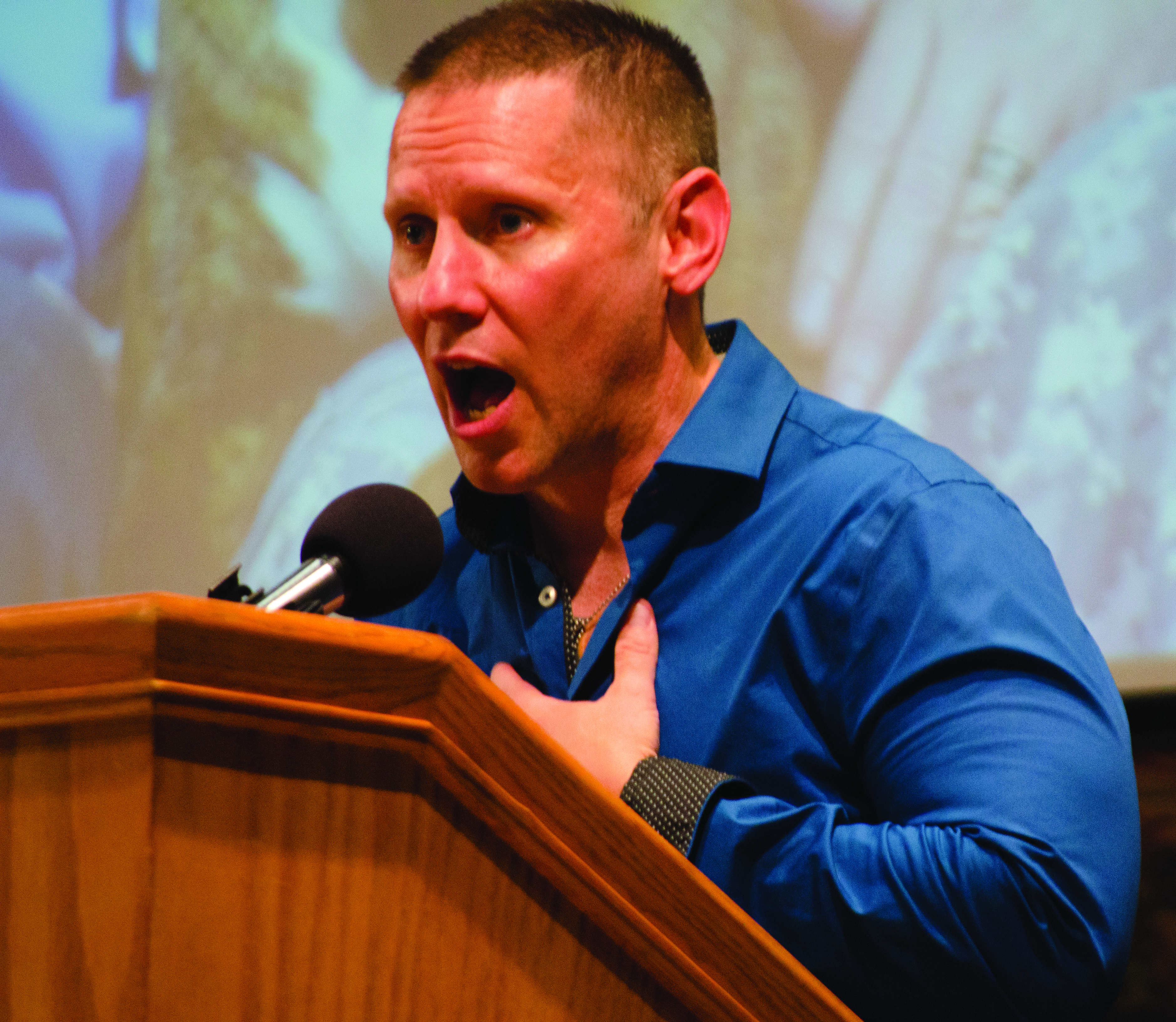 U.S. Army veteran Steven Snyder-Hill visited campus Friday to share his experiences as a gay soldier and the hardships he and his partner faced during the Don't Ask Don't Tell policy. photo by Graig Graziosi/The Jambar.