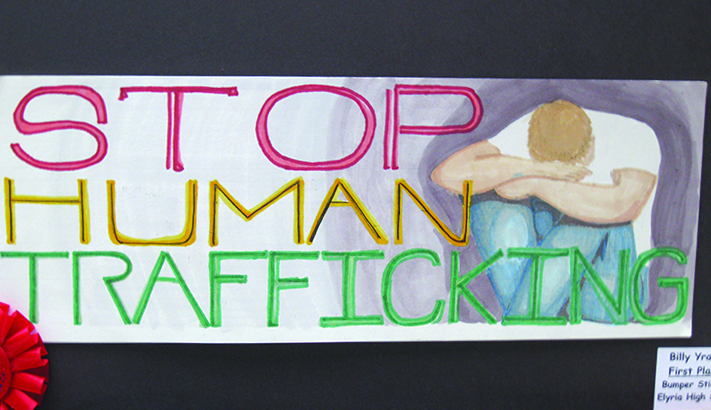 Students of Beaumont High School participated in an art contest for the Collaborative to End Human Trafficking. Photo courtesy of Anne Victory.