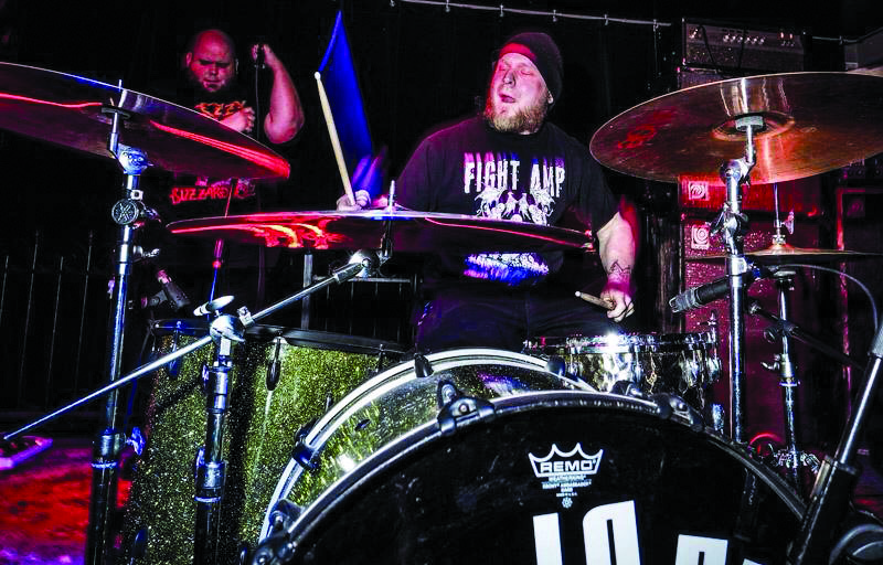 Vocalist Jeff Martin and drummer Jesse Bartz from Columbus rock group Lo-Pan playing a gig last March. Lo-Pan will be headlining a show Saturday at Cedars West End. Photo courtesy of Lo-Pan.