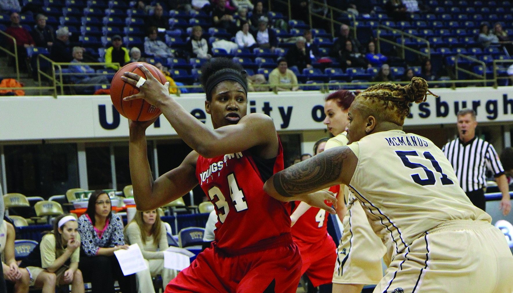 Forward Latisha Walker (34) prepares to engage Pittsburgh center Cora McManus during YSU's Dec. 21 game at the Petersen Events Center in Pittsburgh. Walker finished the game with 15 points and 12 rebounds. Photo courtesy of Ron Stevens.