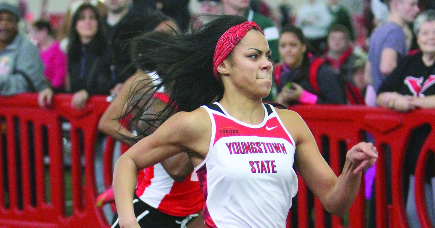 Nina Grambling won the 60-meter dash with a time of 7.50 seconds at the Zips Invitational on Feb. 20. The Zips Invitational was a warm up meet provided by Akron University to prepare YSU for the Horizon League Championship. Photo courtesy of YSU Sports Information.