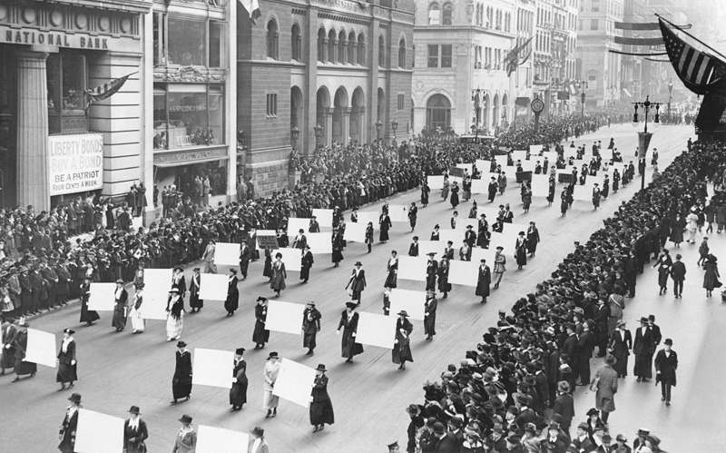 Women march in New York City in 1917 in support of women's suffrage. Public Domain photo.