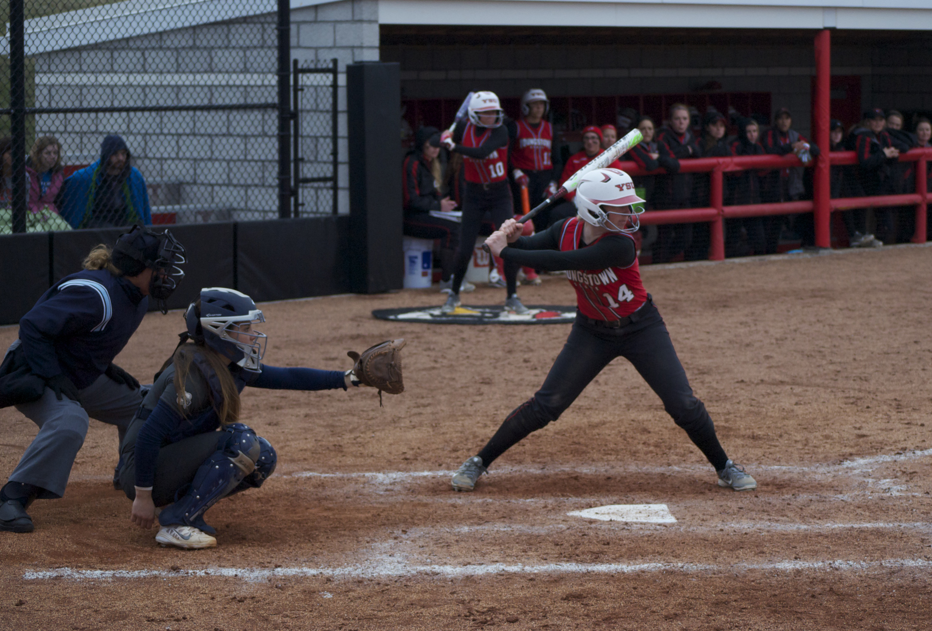 Leftfielder Sarah Dowd (14) hit a game-tying homerun in the bottom of the seventh inning to force extra innings in the Penguins 11-7 loss to Oakland University on April 1.