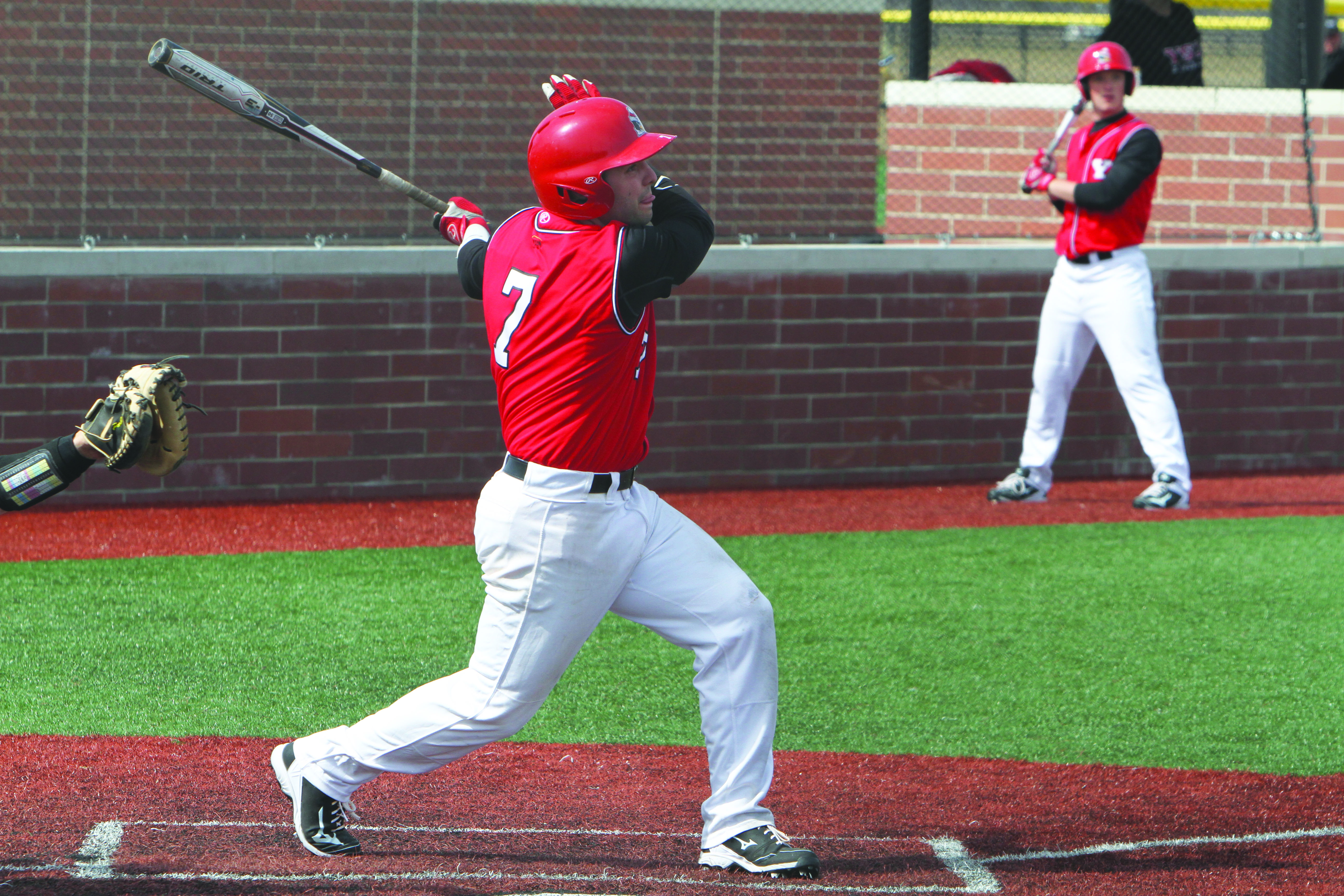 Youngstown State University shortstop Shane Willoughby (7) drove in a career-high three RBIs against Bowling Green State University. Willoughby's double in the bottom of the second inning gave the Penguins a 2-1 lead. Photo courtesy of YSU Sports Information.