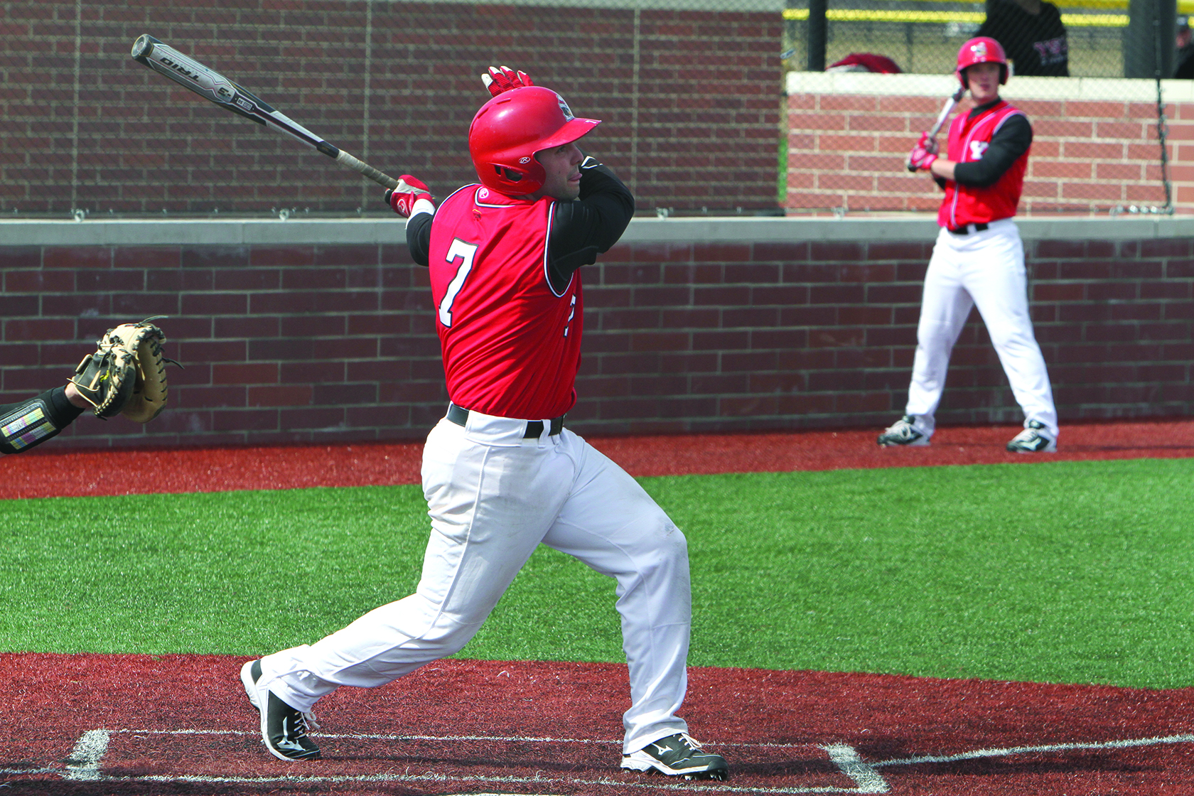 Youngstown State University shortstop Shane Willoughby (7) went 2-3 and scored two RBIs in the Penguins 6-3 win against Oakland University on April 2. Willoughby drove in the Penguins final insurance run in the bottom of the ninth inning. Photo courtesy of Ron Stevens.