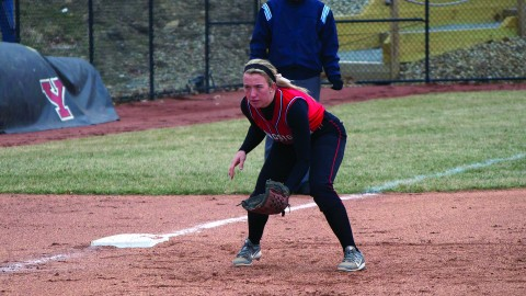 Freshman third baseman Stevie Taylor finished 2-3 with two RBIs and two runs scored in Youngstown State University's 8-7 loss to Wright State University on April 5. Taylor hit a solo home run to right centerfield in the top of the fourth to get the Penguins on the board. Photo by Dan Hiner/ The Jambar.
