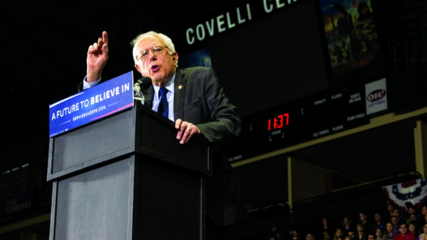 Bernie Sanders Campaigns at Covelli