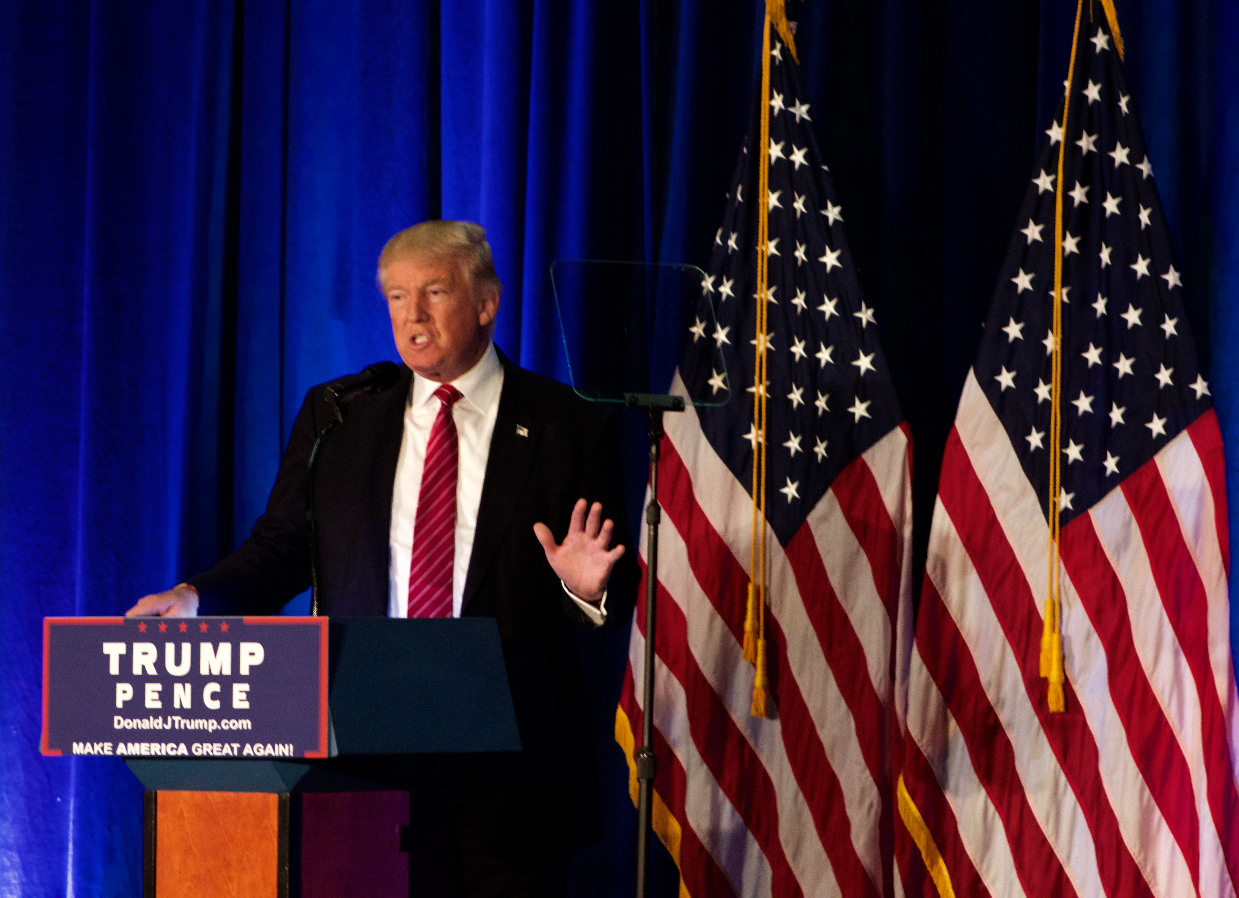 Republican Party Presidential Nominee lays out his plan to defeat ISIS to a crowd of supporters in Youngstown State University's Chestnut Room.
