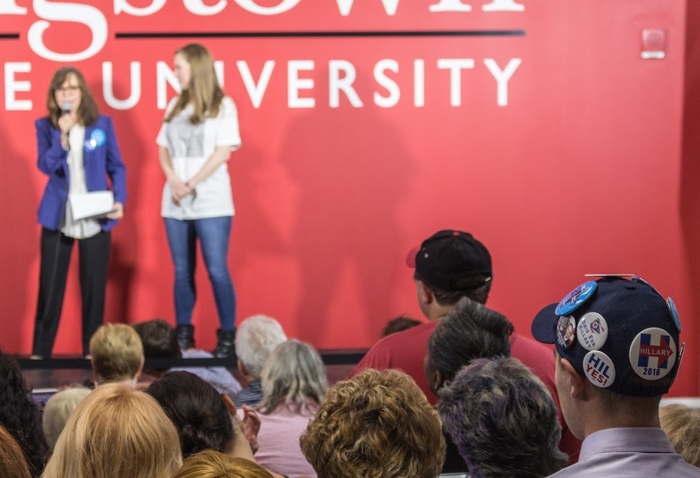Hillary Clinton supporters look on as her daughter Chelsea and Academy Award-winning actress Sally Field campaign for her in the Covelli Centre's Youngstown State University Community Room (Gabby Fellows / The Jambar)