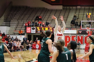 Morgan Olson (25) shoots over the top of multiple Cleveland State defenders.