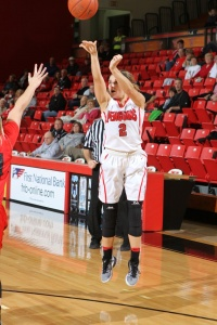 Alison Smolinski shoots a three-pointer. She had a career-high 30 points in the game.