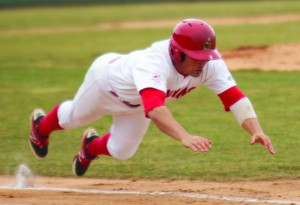 Centerfielder Mike Accardi slides into second base during Friday's 4-2 loss to Wright State University. Accardi is batting .197 with 4 RBIs in 16 games this season.