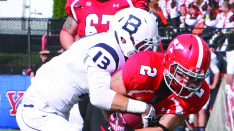 Wide receiver Christian Bryan (2) fights for extra yards after the catch during YSU's 44-13 win against Butler University at Stambaugh Stadium on Sept. 13. Photo courtesy of Sports Information.