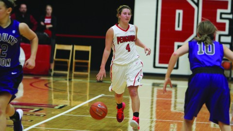 YSU freshman Nikki Arbanas (4) brings the ball up the court during an exhibition game against The University of Mount Union on 11/6. The Hermitage, Pennsylvania native has started the first six games as a shooting guard. Photo by Dustin Livesay/ The Jambar.