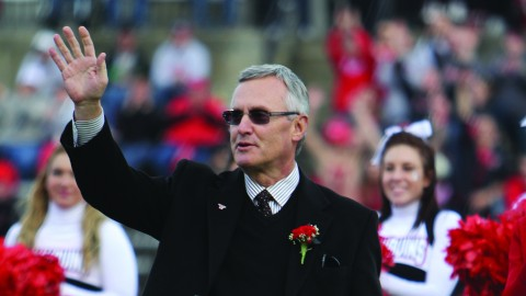 Youngstown State University President Jim Tressel was honored during halftime of the homecoming football game on Nov. 16, 2013. Photo courtesy of Dustin Livesay.
