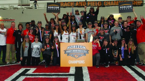The Youngstown State University women's track and field team won its second consecutive Horizon League Championship on March 1. Head coach Brian Gorby was named the Horizon League Women's coach of the Year. Photo courtesy of YSU Sports Information.