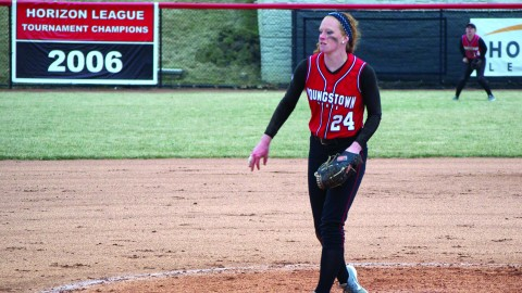 Youngstown State University pitcher Kayla Haslett threw complete game — allowing six hits and one run. With the win, Haslett's record improved to 3-5. She also started the first game of the double header — she finished with a no decision. Photo by Dan Hiner/ The Jambar.