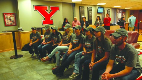The Youngstown State University women's golf team watched the selection show on Monday night at the Beeghly Center to find out where they will be placed in the NCAA regional tournament. The women's golf team won the Horizon League tournament for the first time since 2009. Photo by Dan Hiner/The Jambar.