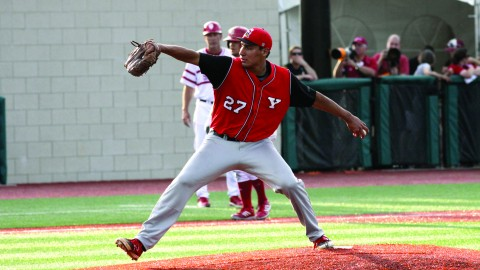 Youngstown State University pitcher Jared Wight (27) picked up the win in the baseball team's 6-5 win over Wright State University on April 10. Wight's record improved to 3-2 this season. The win against Wright State was YSU's only win of the series. Photo courtesy of Ron Stevens.