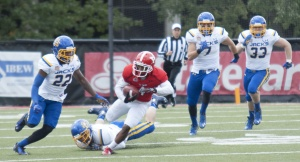 Youngstown State University receiver Andre Stubbs (4) caught six passes for 129 yards, the second highest total of his career.