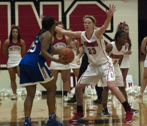 Youngstown State University forward Sarah Cash (23) scored a career-high 22 points in the Penguins' win over Tennessee State University on Wednesday night.