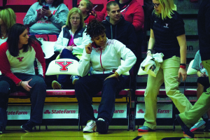 Youngstown State University starting forward Janae Jackson sits on the bench in a walking boot during the Penguins' 69-68 loss to the University of Detroit Mercy on Feb. 6.